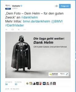 Tweet des BMVI zur #dankhelm Kampagne