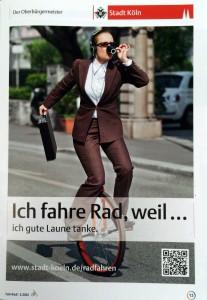 """""""Werbung"""" der Stadt Köln für das Fahrrad fahren"""